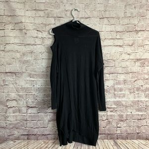 All Saints S Black One Shoulder Mock Neck Dress
